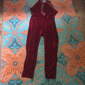 Sexy red velvet jumpsuit. Stretchy low-cut